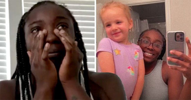 A picture of Lakeyjanay Bailey crying next to a picture of her with her sister Luna. │ Source:  youtube.com/Denver7 – The Denver Channel