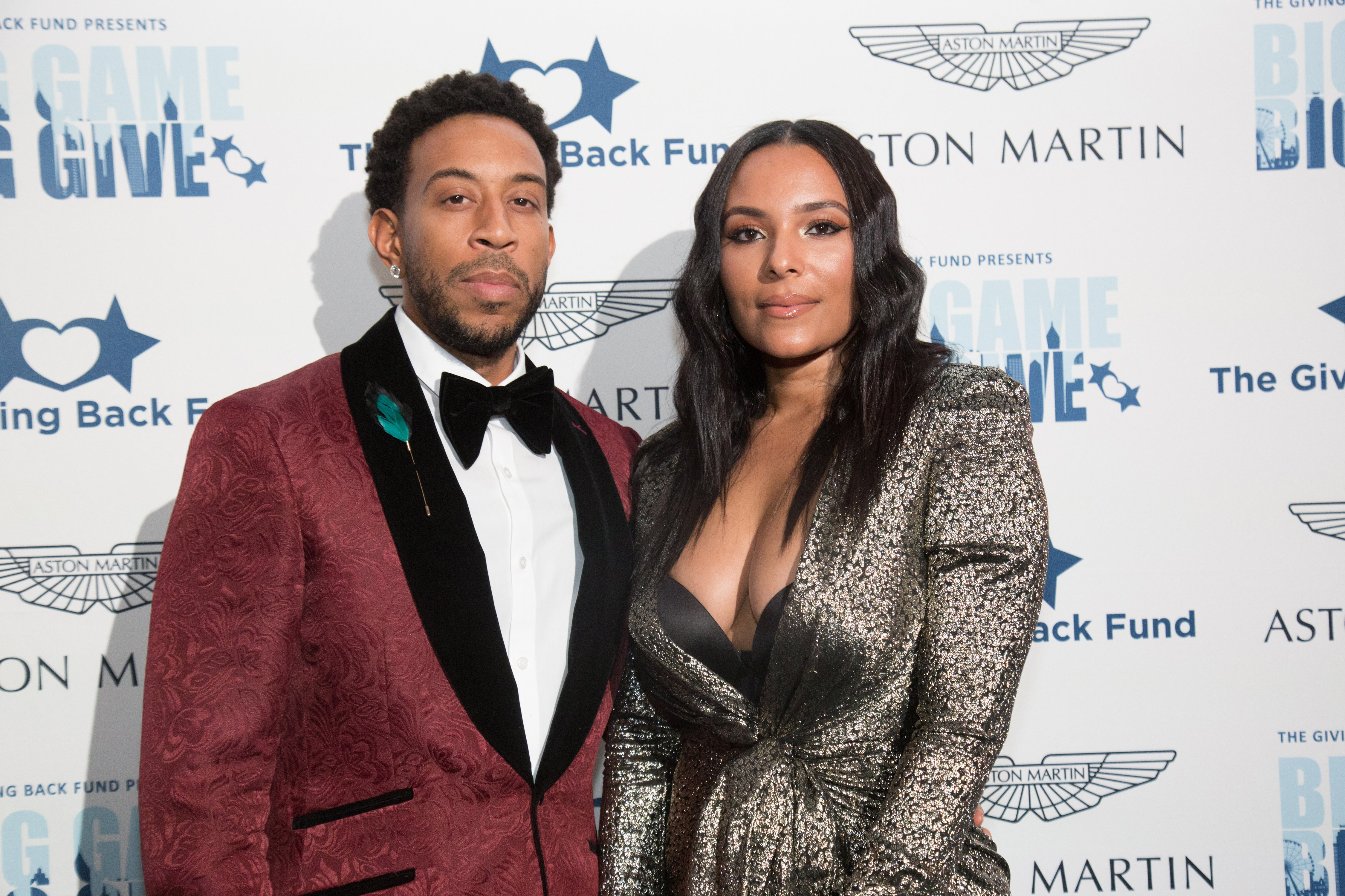 """Ludacris and Eudoxie Bridges at the """"Big Game Big Give"""" Superbowl Party on February 02, 2019. 