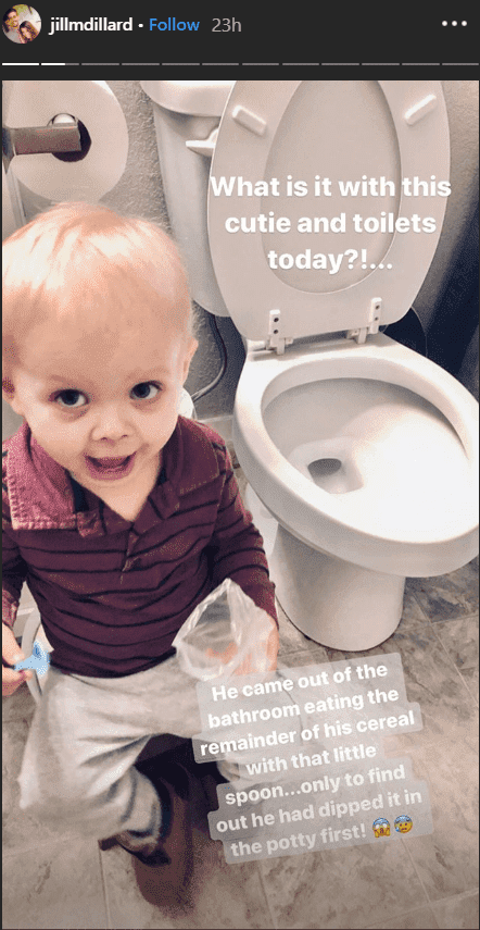 Jill Duggar's son, Sam Dillard holds a blue spoon and packet of cereal in his hands while sitting next to a toilet bowl | Source: Instagram.com/jillmdillard