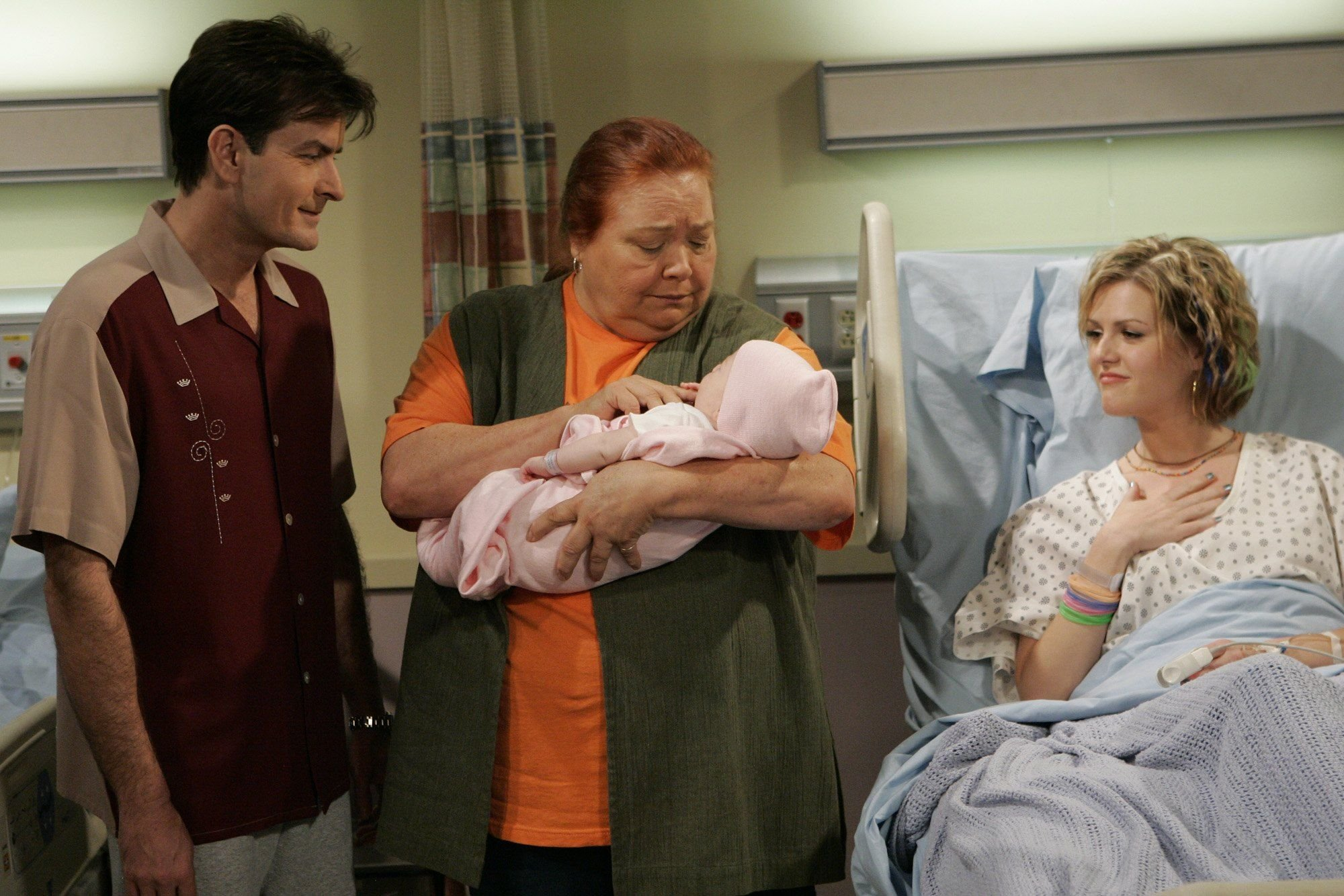 "Conchata Ferrell and Charlie Sheen during a scene in an episode of ""Two and a Half Men"" 