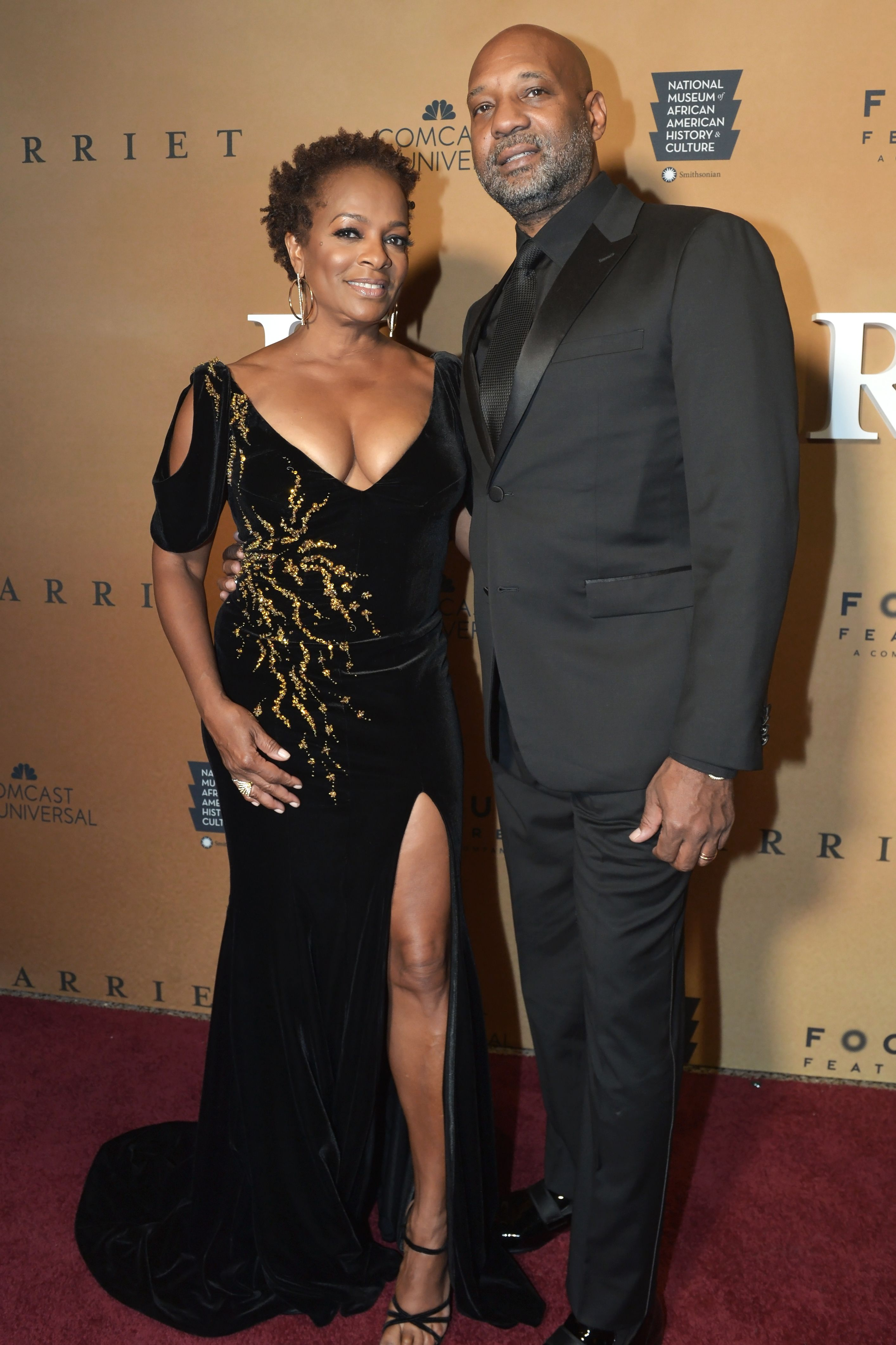 "Vanessa Bell Calloway and her husband Anthony Calloway at the Washington, DC premiere of ""Harriet"" on October 22, 2019 in Washington, DC 