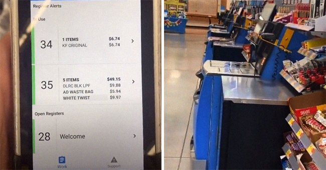Purported Walmart employee shows device that tracks shoppers at the self-service section | Photo: Tiktok/thewalmartguy69