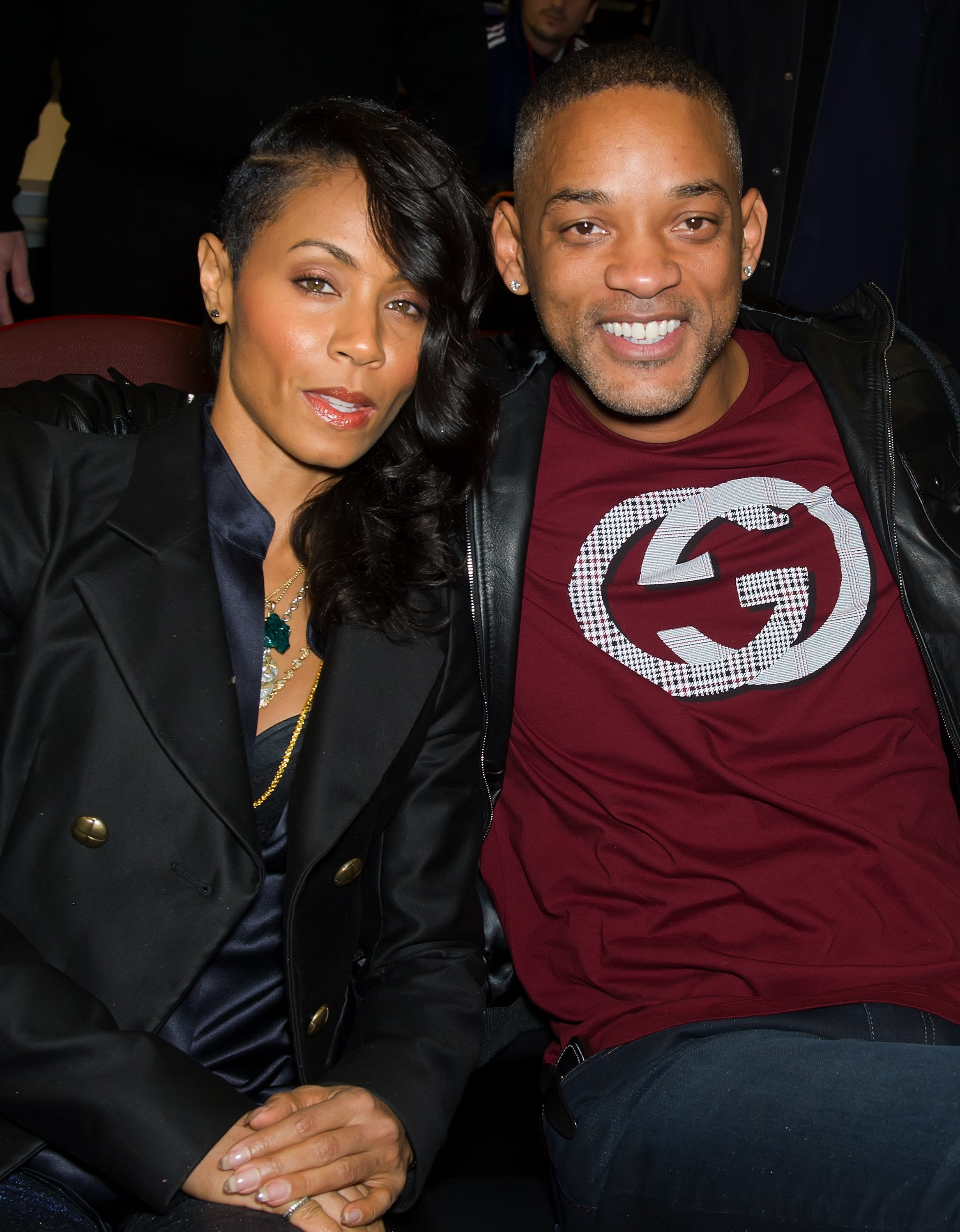 Will Smith and Jada Pinkett-Smith watching a Philadelphia 76ers game in January 2012. | Photo: Getty Images