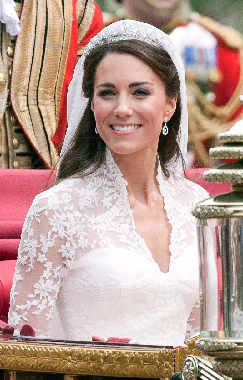 Kate Middleton on her wedding day with Prince Williams.   Source: Getty Images