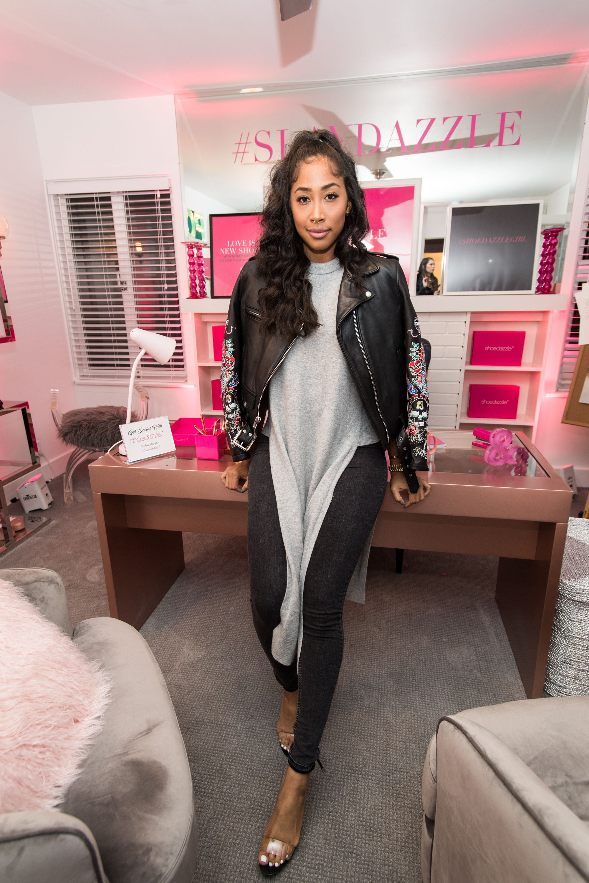 """Actress Apryl Jones attending the """"ShoeDazzle X BarbieStyle party"""" on January 31, 2018 in California. 