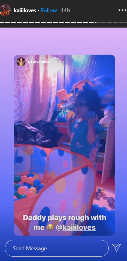 A picture of Corde's daughter Eleven playing with balls on his Instagram story.   Photo: Instagram/kaiiiloves