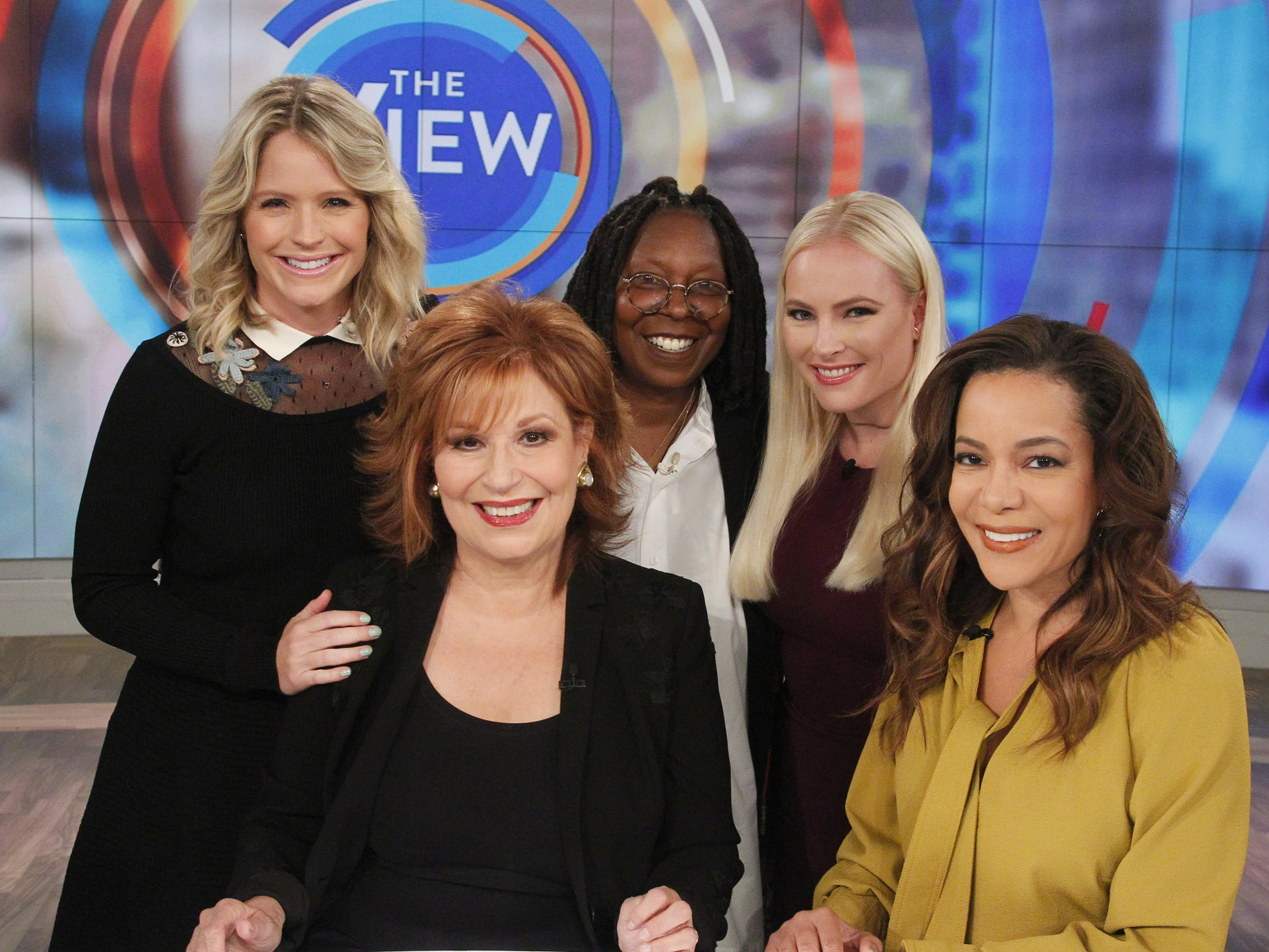 """The View"" hosts Sara Haines, Joy Behar, Whoopi Goldberg, Meghan McCain, and Sunny Hostin on set 