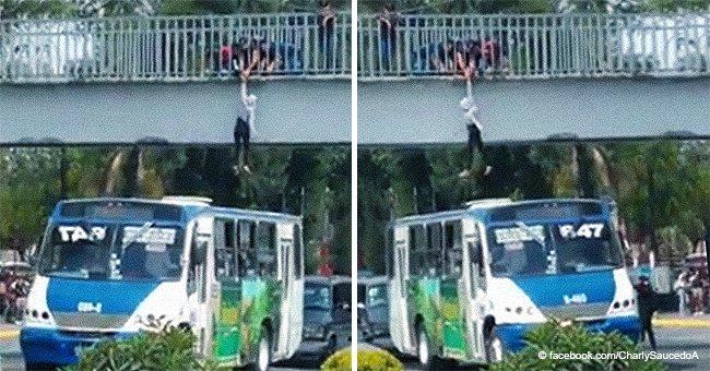 Busfahrer rettet in letzter Minute eine Frau, die bereit war, sich von einer Brücke zu stürzen
