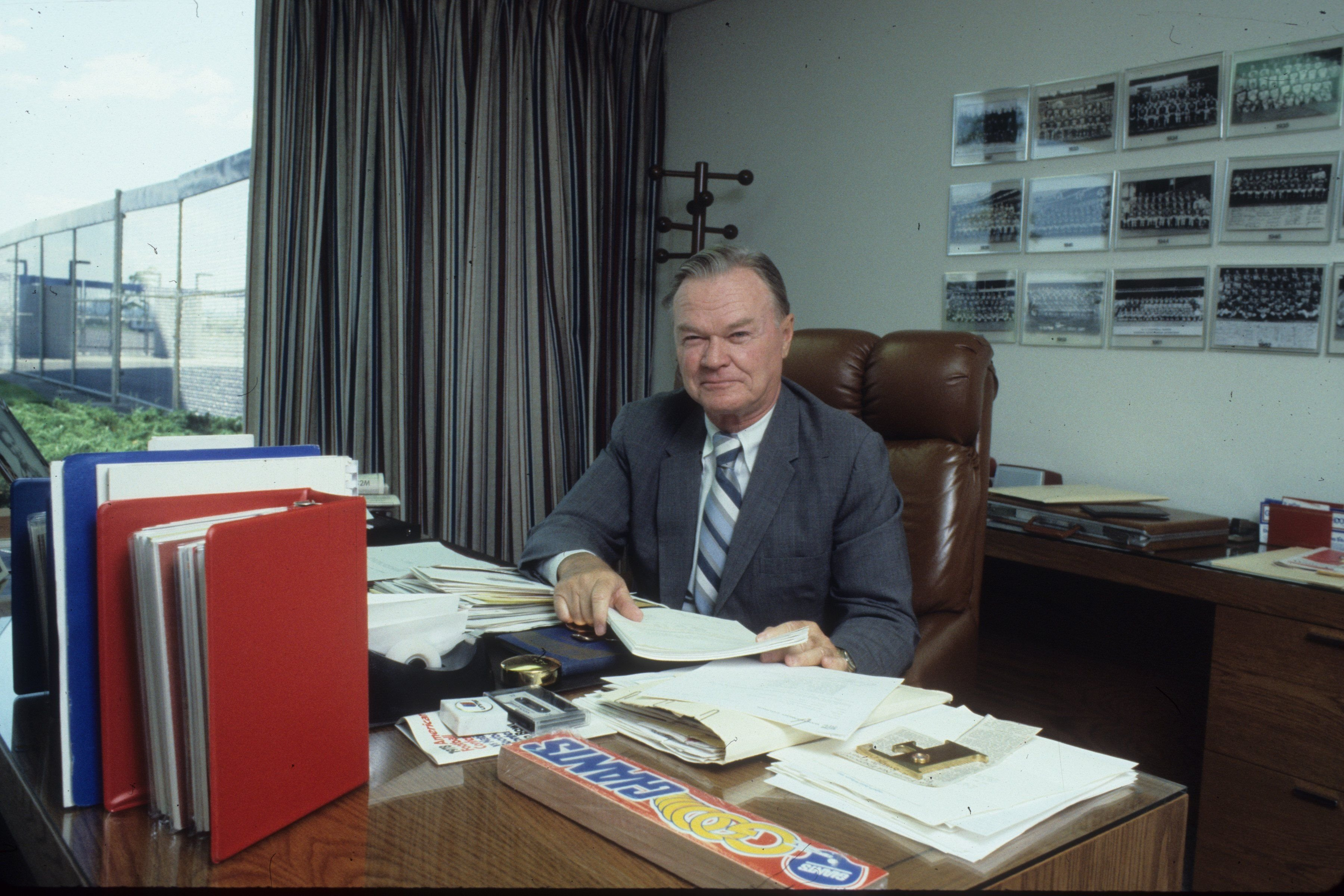 Wellington Mara, owner of the New York Giants sits in his office at the newly built Giants Stadium on June 15, 1978 | Photo: Getty Images