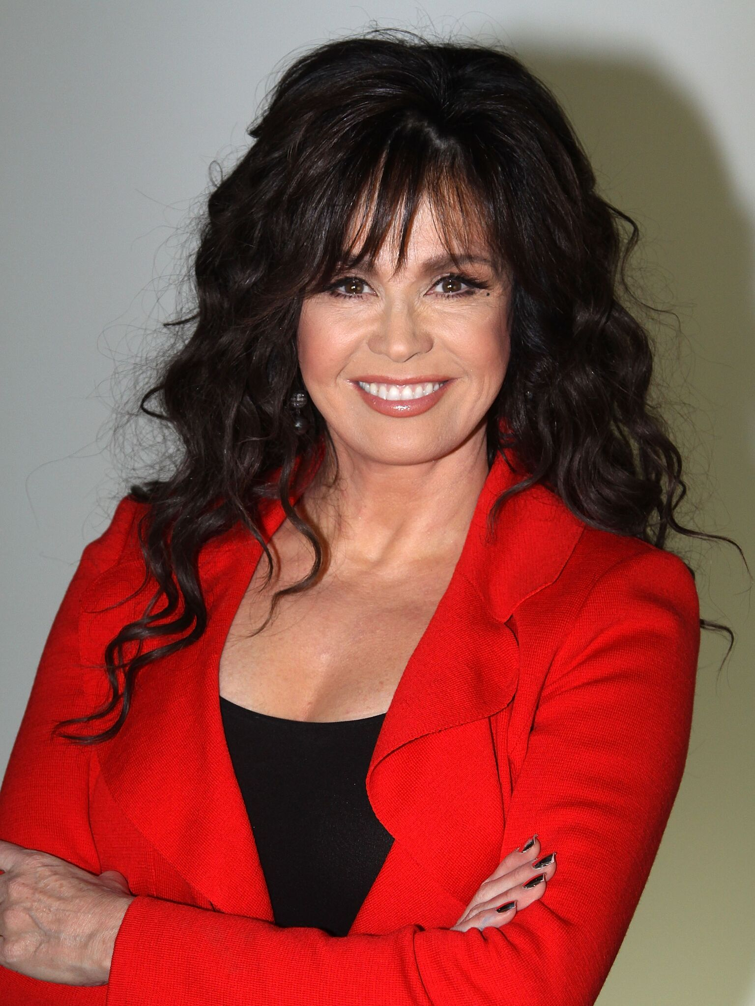 """Marie Osmond poses as she promotes """"A Broadway Christmas"""" as she visits Broadway.com at The Broadway.com Studios 