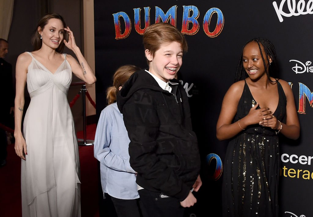 "Angelina Jolie, Shiloh Nouvel Jolie-Pitt and Zahara Marley Jolie-Pitt attend the premiere of Disney's ""Dumbo"" at El Capitan Theatre on March 11, 2019 