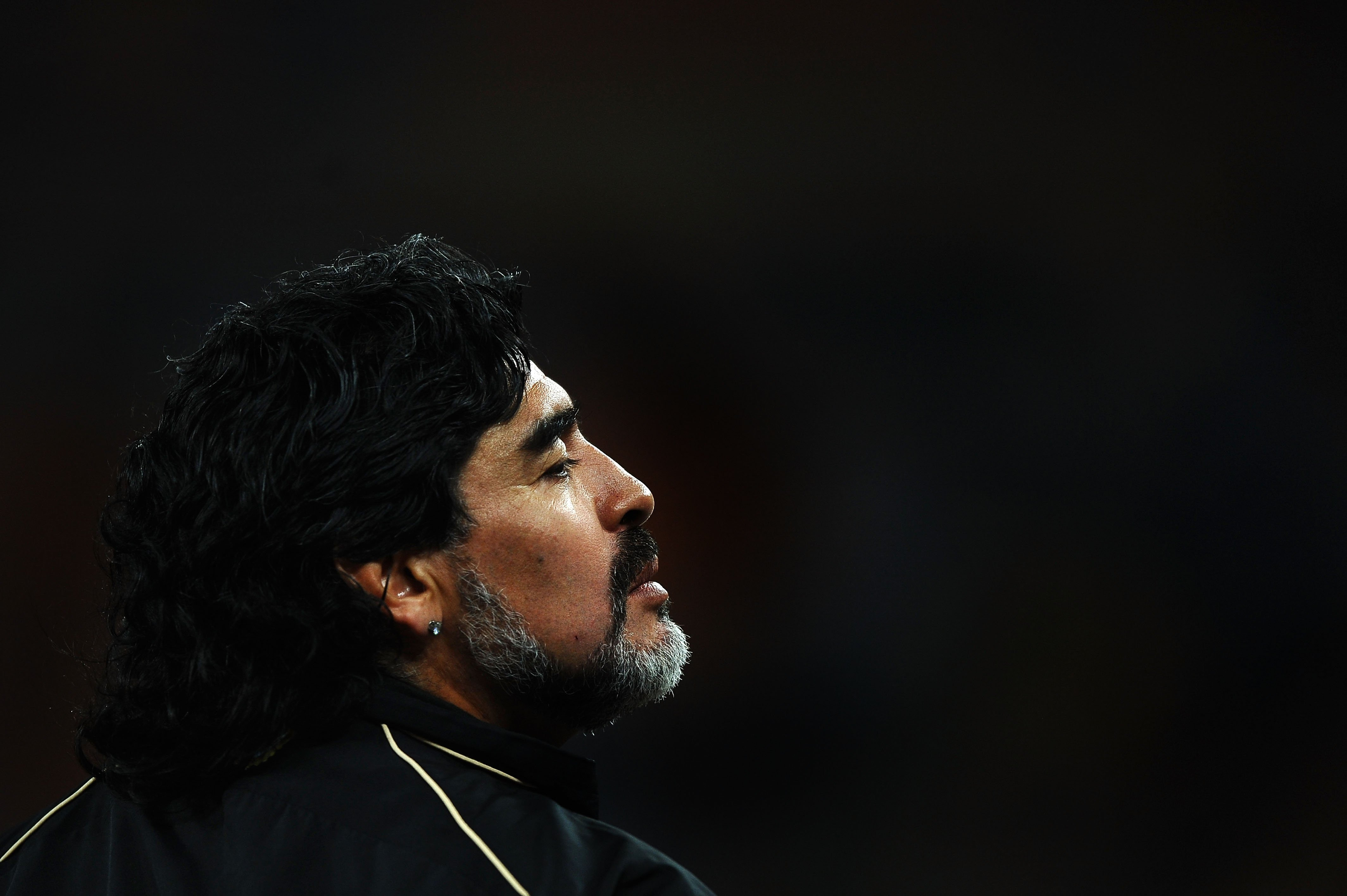 Diego Maradona at the 2010 FIFA World Cup South Africa Round of Sixteen match between Argentina and Mexico at Soccer City Stadium on June 27, 2010 in Johannesburg, South Africa. | Photo by Laurence Griffiths/Getty Images
