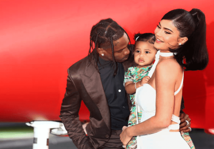 "Travis Scott, Kylie Jenner and their daughter Stormi Webster attend the premiere for Travis Scott's documentary, ""Look Mom I Can Fly,"" at The Barker Hanger, on August 27, 2019, California 