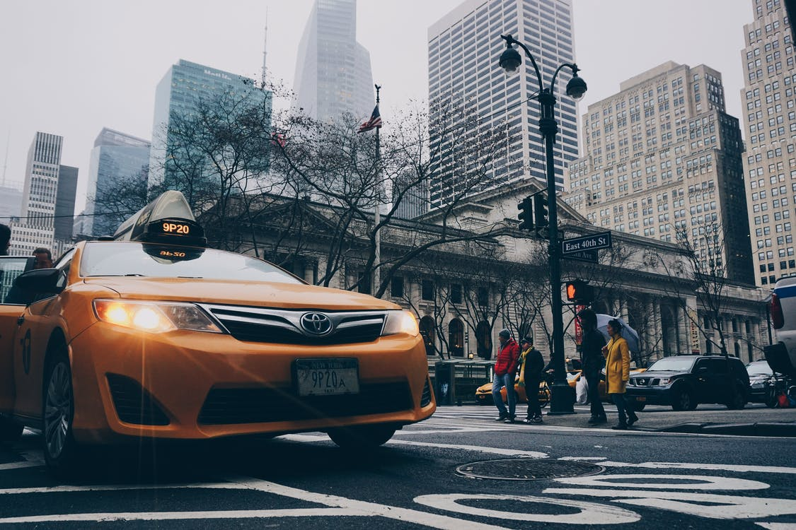 A photo of a taxi on the road.   Photo: Pexels