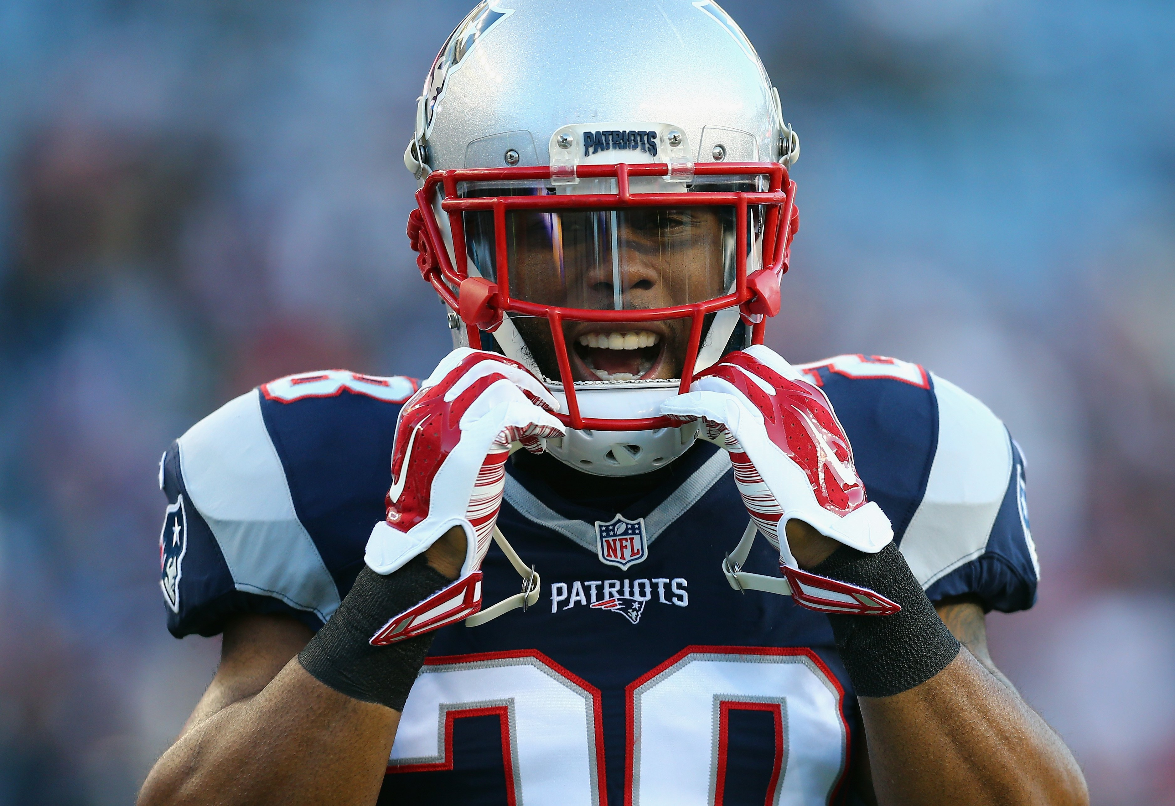 James White of the New England Patriots during warm ups prior to the AFC Divisional Playoff Game against the Kansas City Chiefs at Gillette Stadium on January 16, 2016 in Foxboro, Massachusetts. | Source: Getty Images