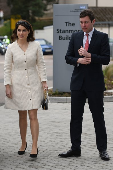 Princess Eugenie and Jack Brooksbank arrive at the Royal National Orthopaedic Hospital on March 21, 2019, in Stanmore, Greater London. | Source: Getty Images.