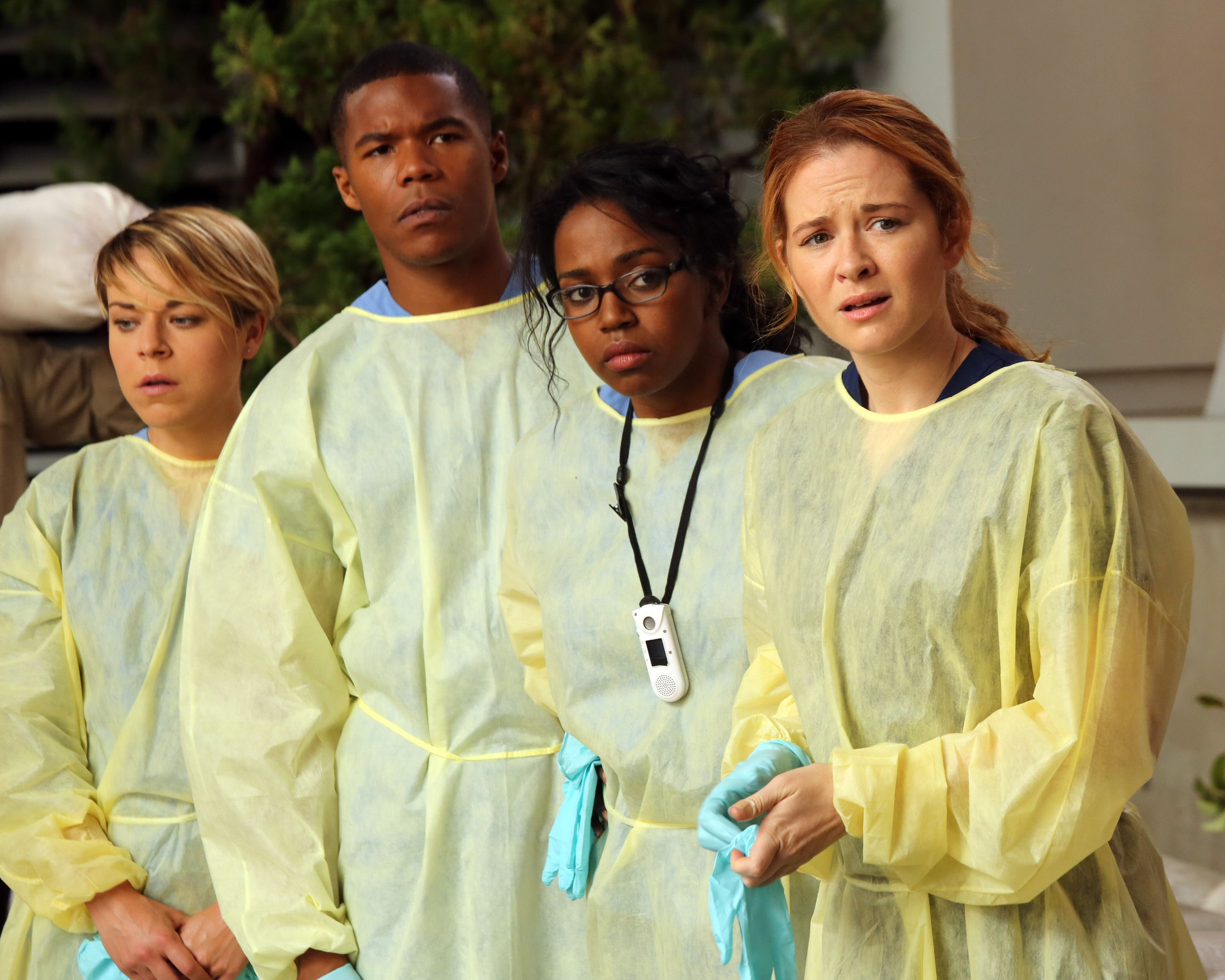 """Gaius Charles alongside his co-stars on the set of """"Grey's Anatomy"""" on  July 22, 2013. 