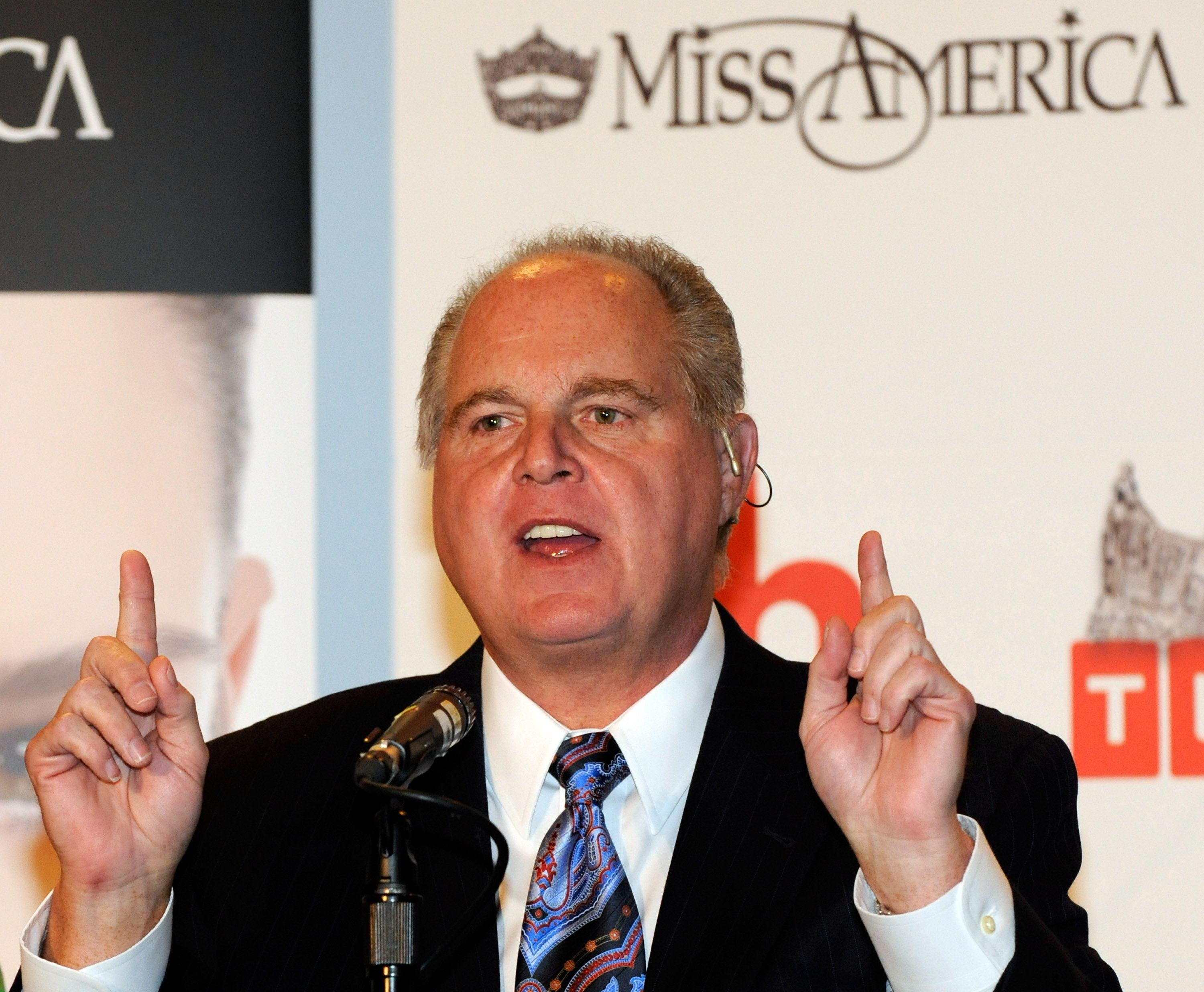 Rush Limbaugh during a news conference for Miss America Pageant judges on January 27, 2010, in Las Vegas, Nevada. | Source: Getty Images