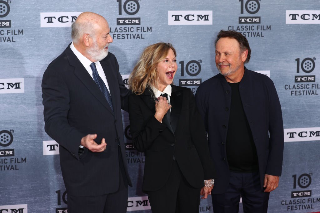 "Rob Reiner, Meg Ryan and Billy Crystal at the 2019 TCM Classic Film Festival Opening Night Gala And 30th Anniversary Screening Of ""When Harry Met Sally"" on April 11, 2019. 