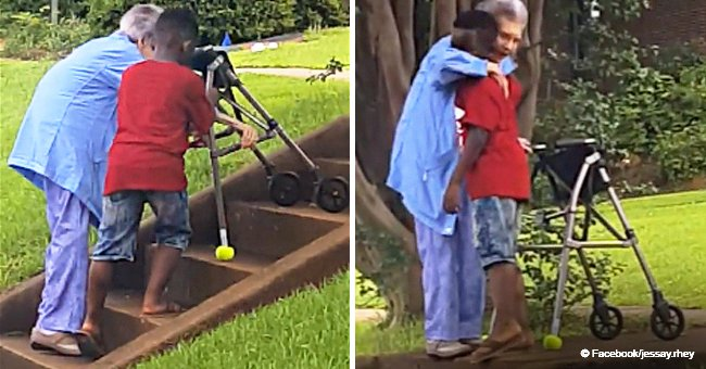 The moment when 8-year-old boy got out of his mom's car to help an elderly woman still melts hearts