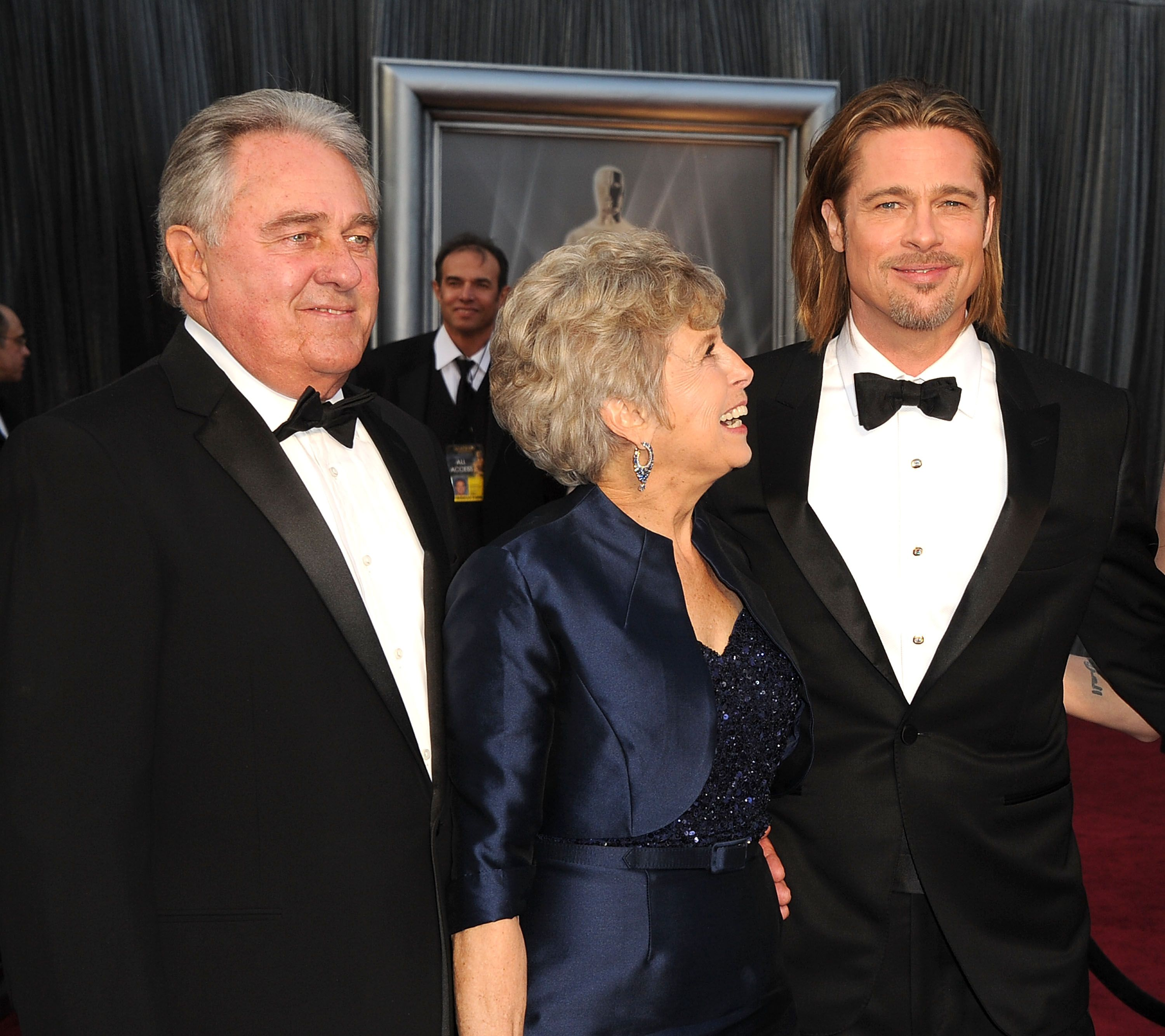 Bill Pitt, Jane Pitt and Brad Pitt at the 84th Annual Academy Awards on February 26, 2012 in Hollywood, California   Photo: Getty Images