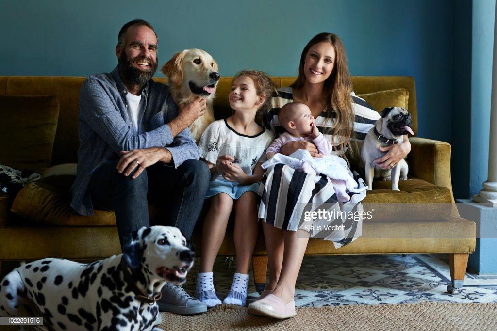 Une famille assise ensemble dans un canapé avec leurs chiens | photo : Getty Images