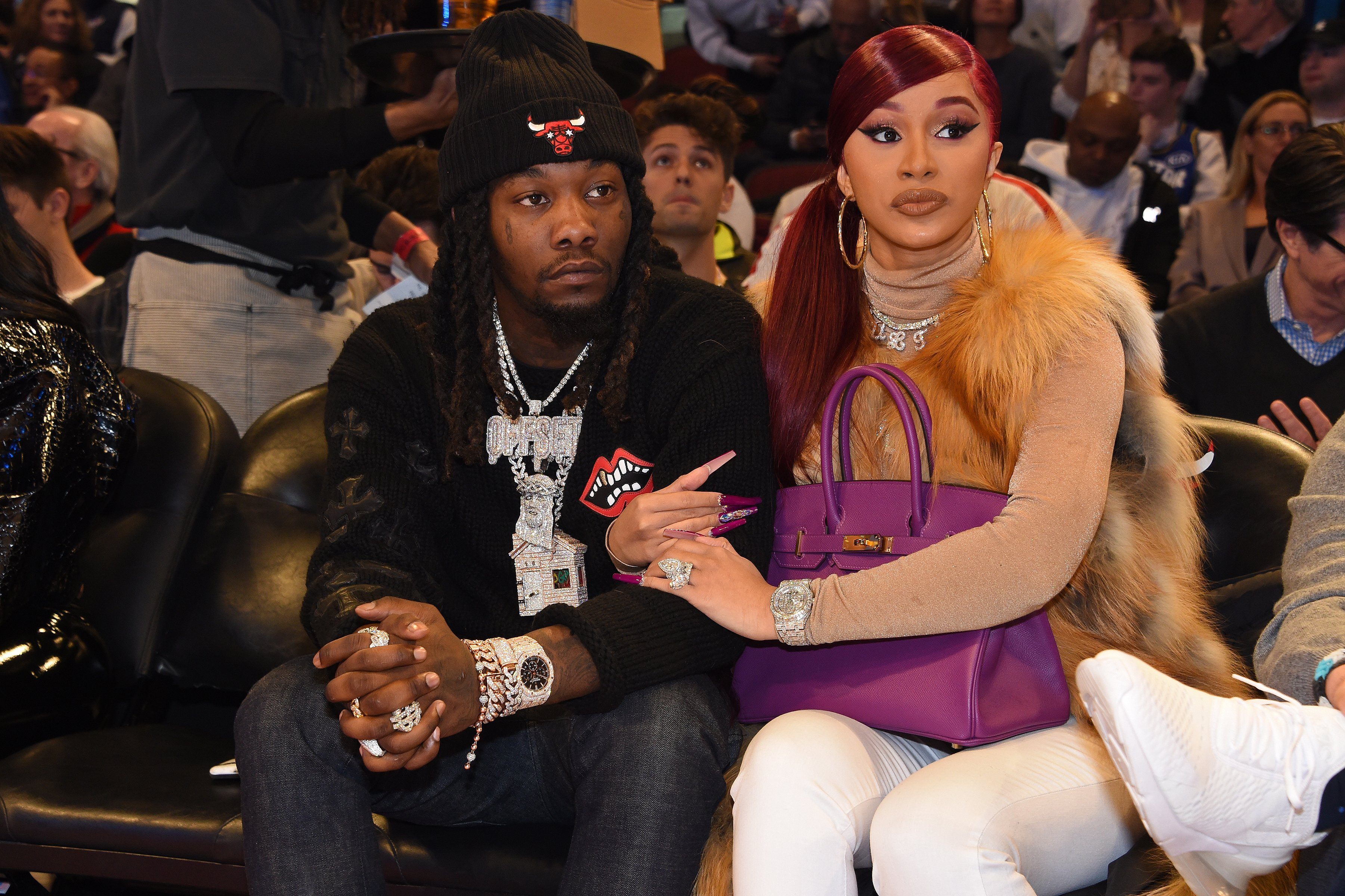 Offset and Cardi B at the NBA All-Star Weekend on February 16, 2020 at United Center in Chicago, Illinois.  Source: Getty Images