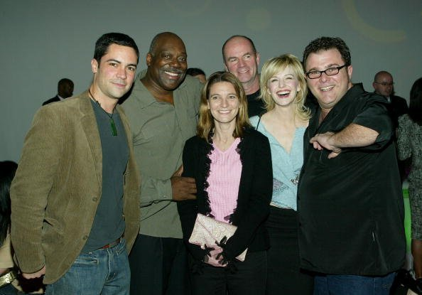 "Cast of ""Cold Case"" (L-R) Danny Pino, Thom Barry, John Finn, Kathryn Morris and Jeremy Ratchford attend the CBS & UPN Winter Press Tour party on January 18, 2005, in West Hollywood, California. 