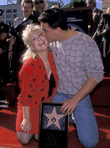 "Barbara Eden and son Matthew Ansara attend the ""Hollywood Walk of Fame Ceremony Honoring Barbara Eden with a Star"" on November 17, 1988  