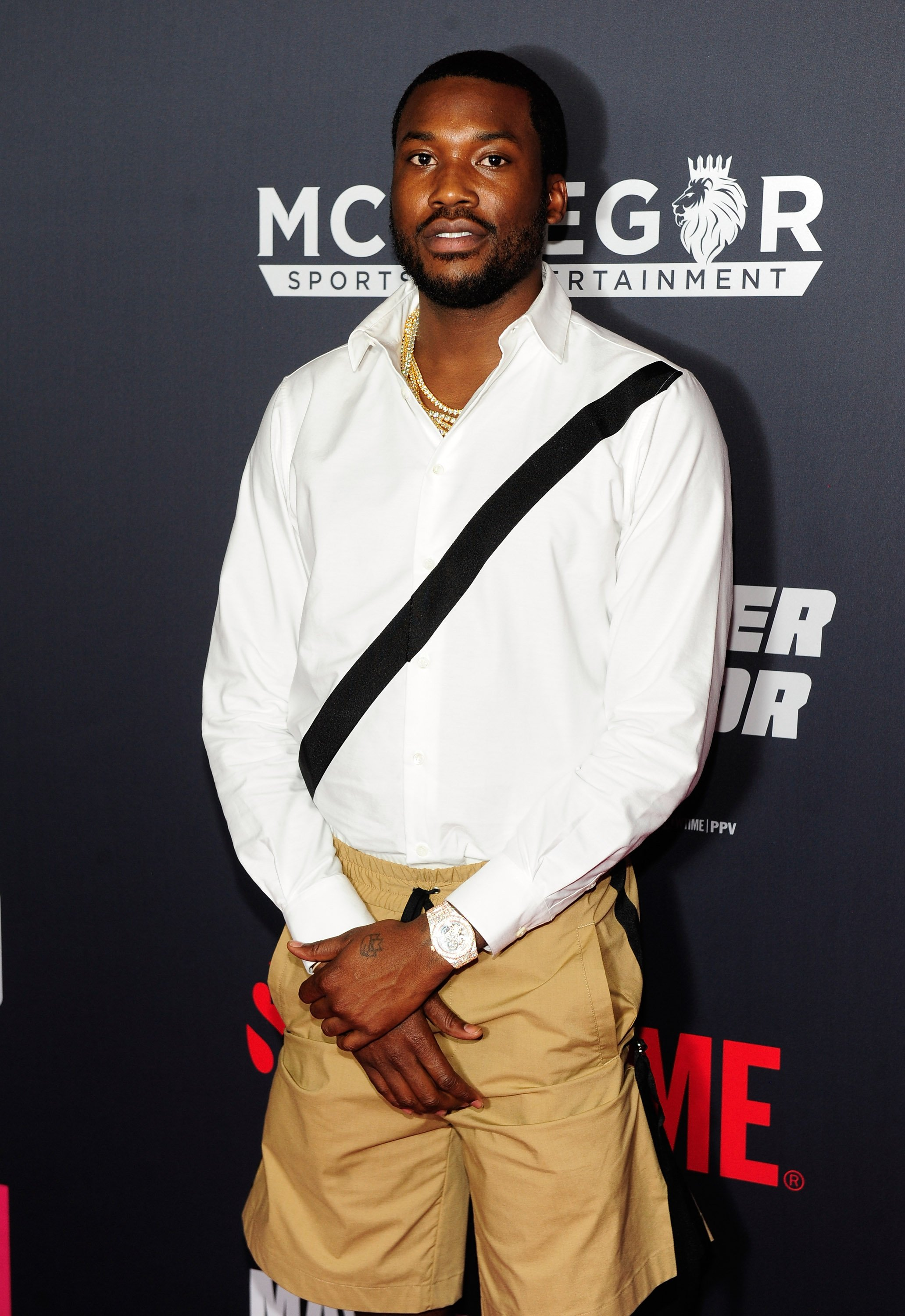 Meek Mill attending a VIP party before the Floyd Mayweather Jr.-Conor McGregor boxing match in Las Vegas in August 2017. | Photo: Getty Images
