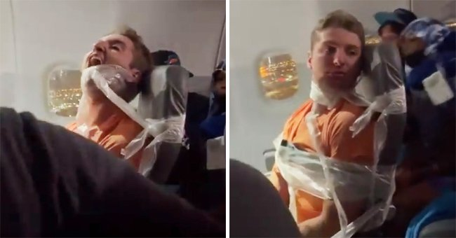 Maxwell Wilkinson Berry tied to his chair during the flight to Seattle, Washington   Photo: Twitter.com/k9spams