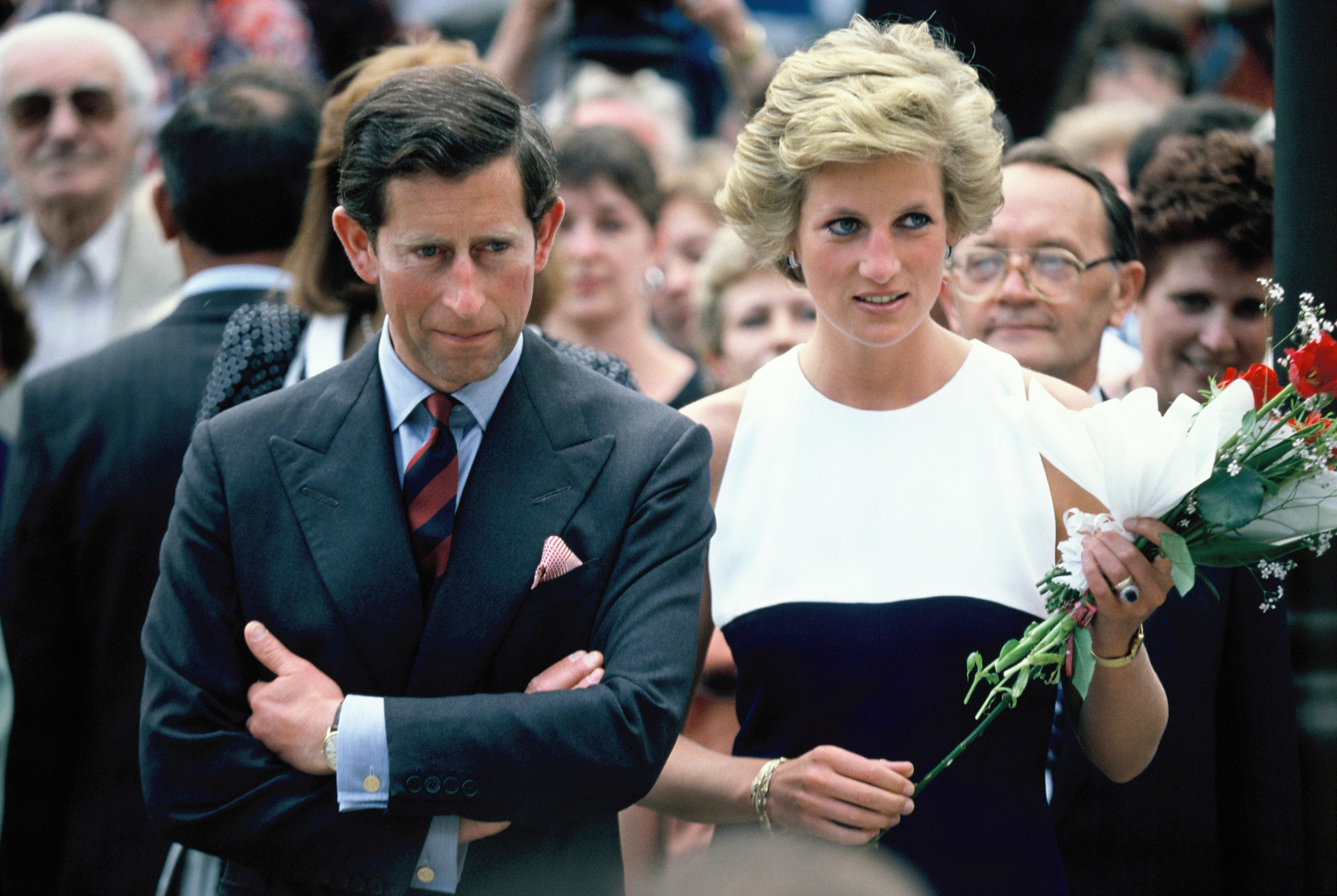 Charles and Diana, Prince and Princess of Wales, during their official visit to Hungary. | Source: Getty Images