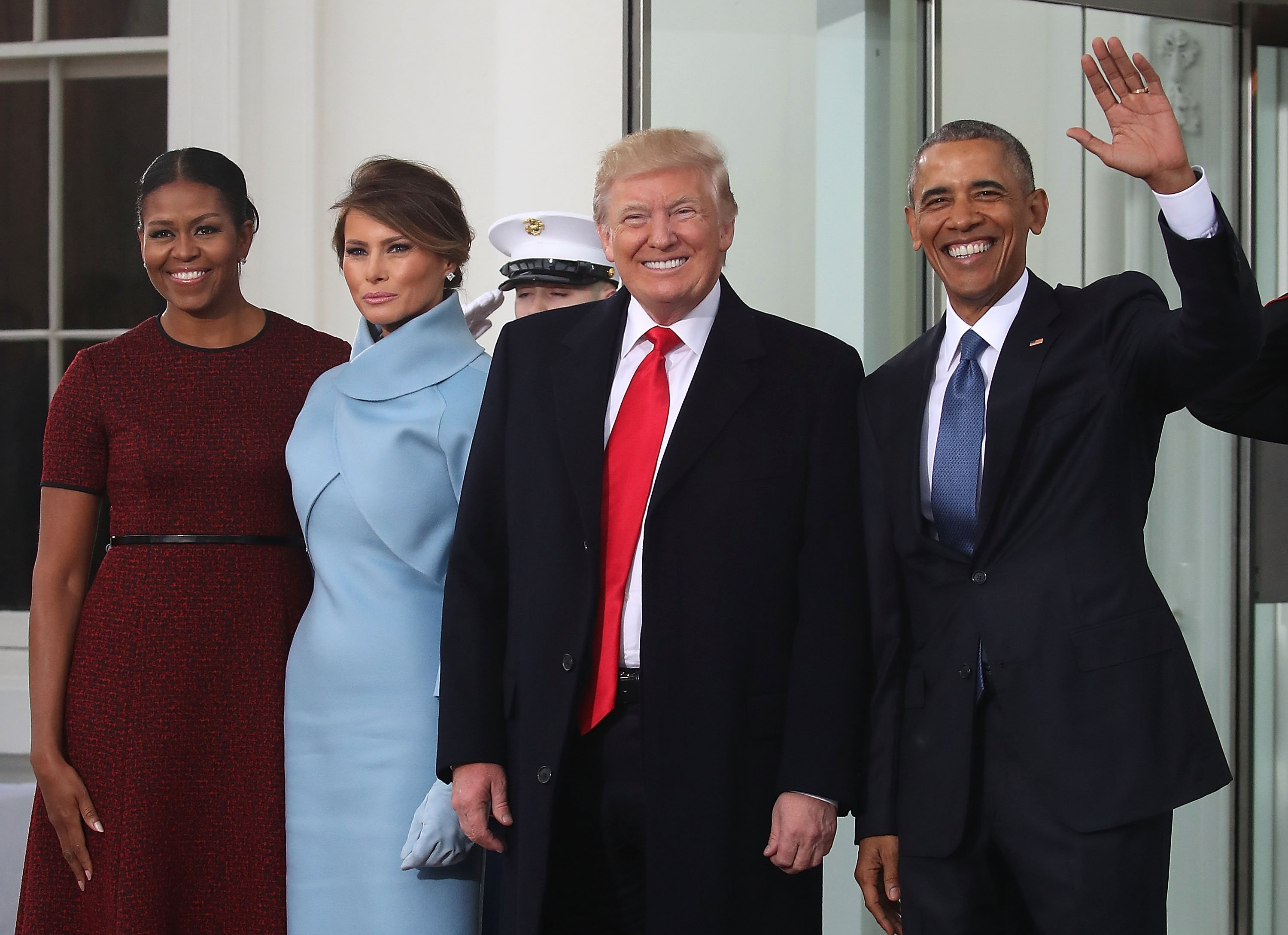 Donald Trump ,and his wife Melania Trump  are greeted by President Barack Obama and his wife first lady Michelle Obama, upon arriving at the White House on January 20, 2017. | Photo: GettyImages