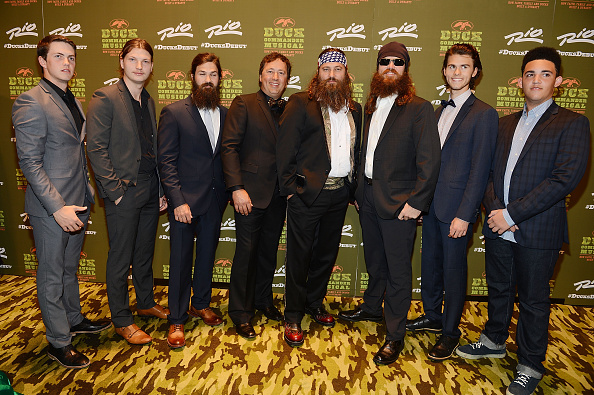 """Duck Dynasty's Robertsons at the world premiere of """"Duck Commander Musical' at Rio All-Suite Hotel & Casino on April 15, 2015 in Las Vegas 