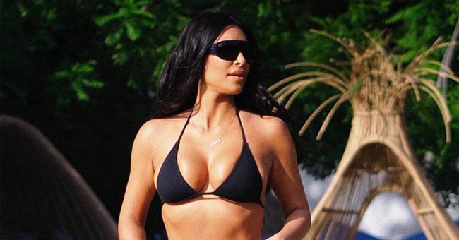 Kim Kardashian Struts around in Tiny Black Bikini on Costa Rica Family Holiday