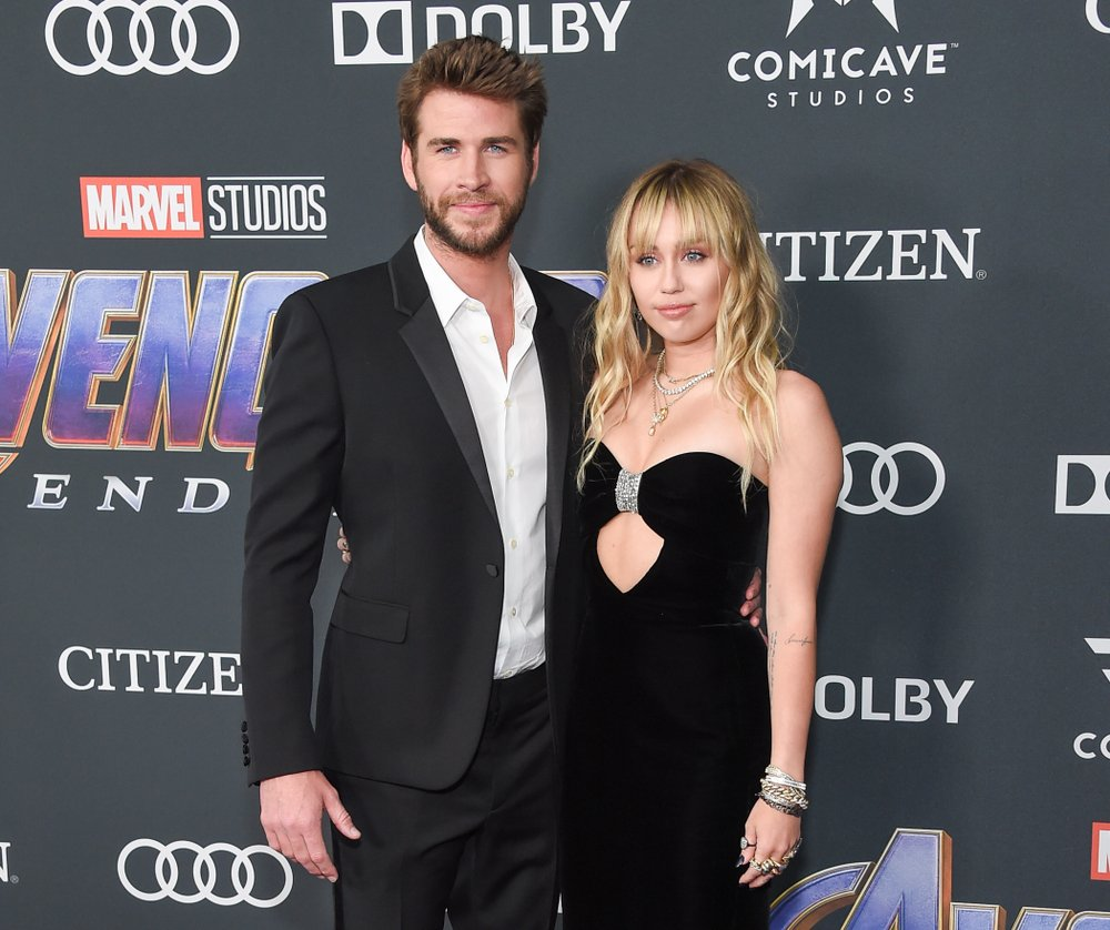 """Miley Cyrus and Liam Hemsworth pictured at the premiere Of Walt Disney Studios Motion Pictures """"Avengers: Endgame"""" 2019, California. 