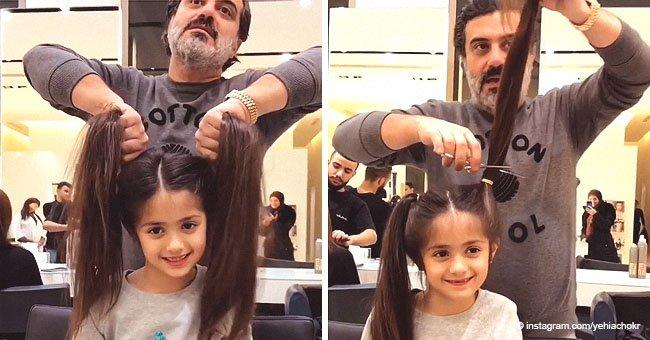 Friseur schneidet einfach die Rapunzel-ähnlichen Zöpfe des Mädchens ab und das Ergebnis ist wow