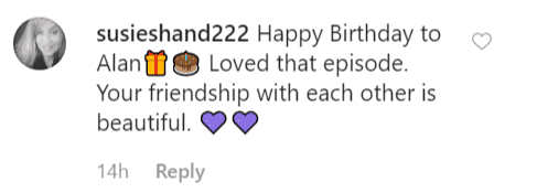 A fan comment on Loretta Swit's birthday message to Alan Alda | Instagram: @lorettaswit