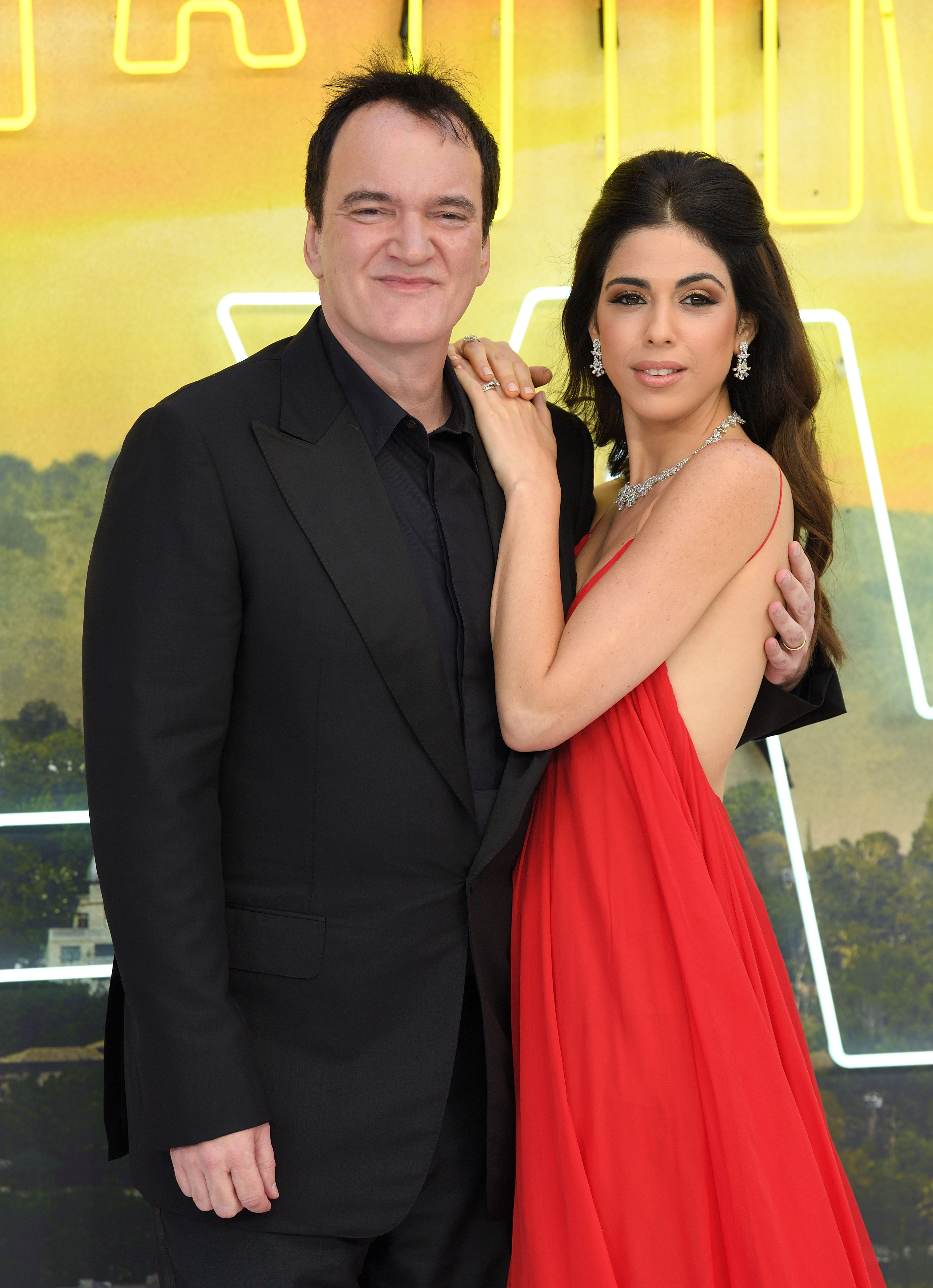 """Quentin Tarantino and Daniella Pick at the """"Once Upon a Time... in Hollywood"""" UK premiere in 2019 in London, England 