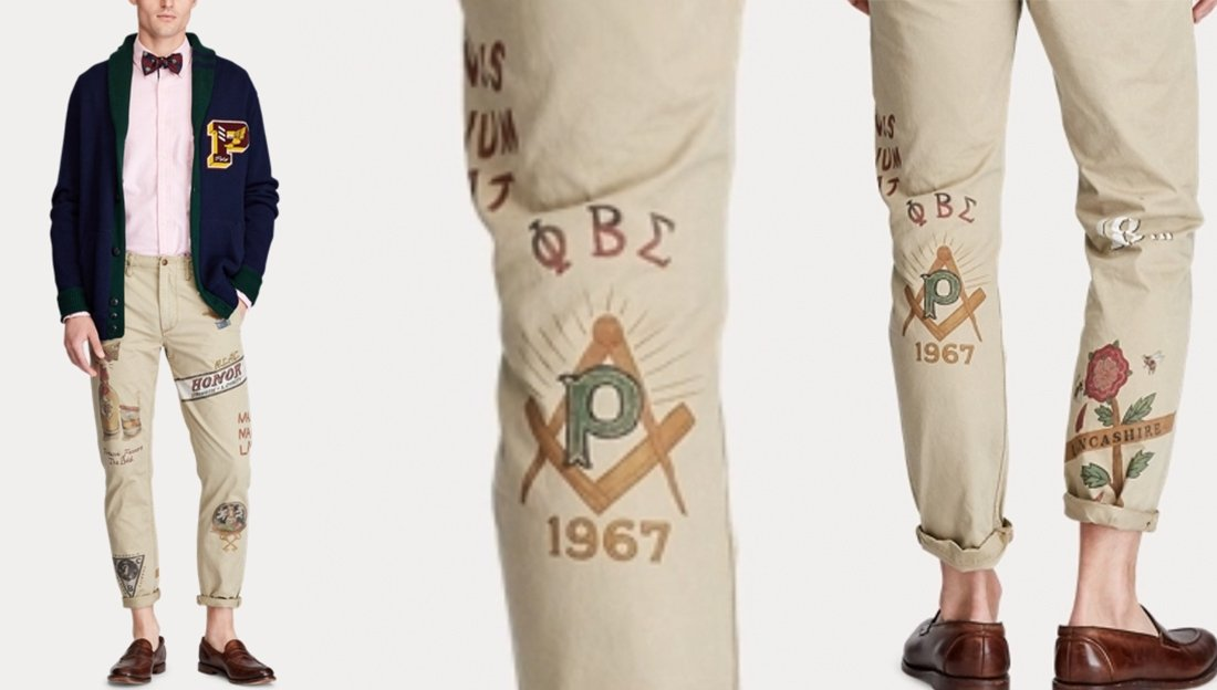The ad for Ralph Lauren's controversial pants bearing the Phi Beta Sigma logo. | Photo: WatchTheYard