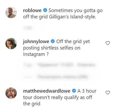 John and Matthew Lowe's comments on Rob Lowe's Instagram post from July 17, 2021 | Photo: Instagram/roblowe