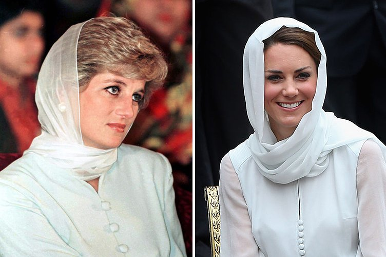 Princess Diana in June 1996 and Duchess Kate Middleton in September 2012 | Photo: Getty Images
