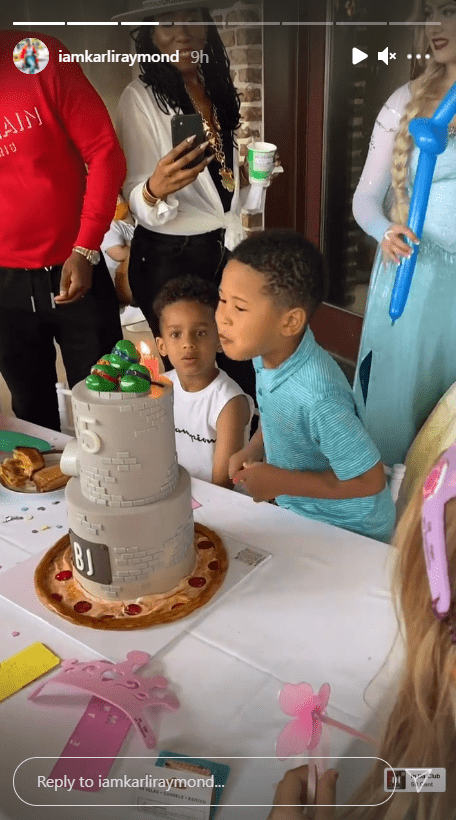 Karli Harvey shares a picture of her son and his friends with his birthday cake.   Photo: Instagram.com/iamkarliraymond