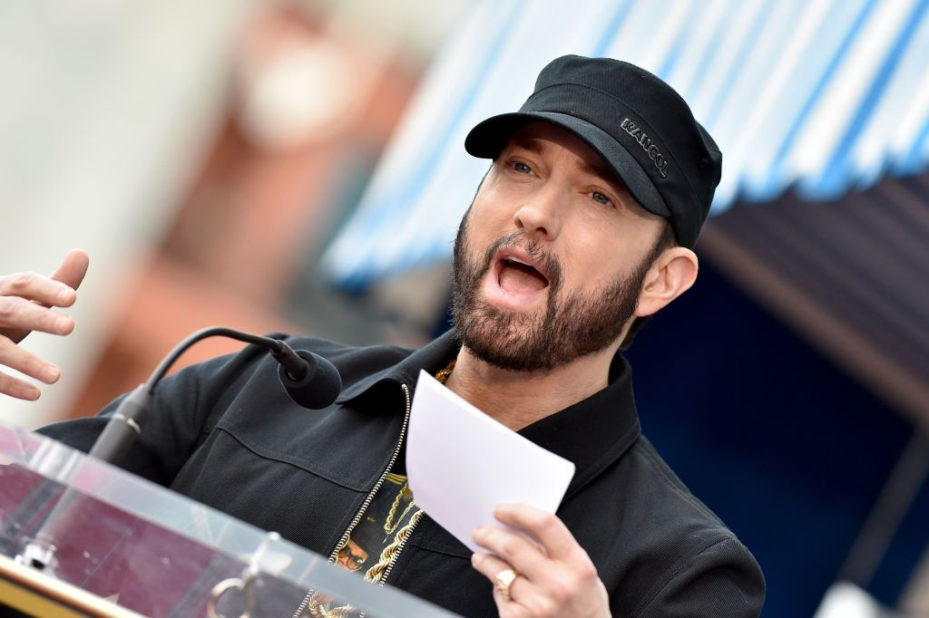 """Eminem at the ceremony honoring Curtis """"50 Cent"""" with a Star on the Hollywood Walk of Fame on January 30, 2020 in Hollywood, California   Photo: Getty Images"""