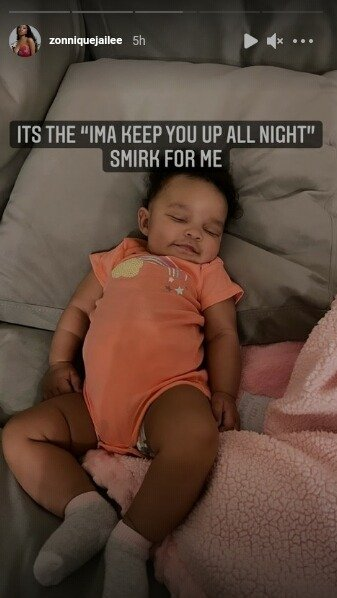 Zonnique Pullins shares a cute photo of her daughter sleeping and smiling. | Photo: Instagram/Zonniquejailee