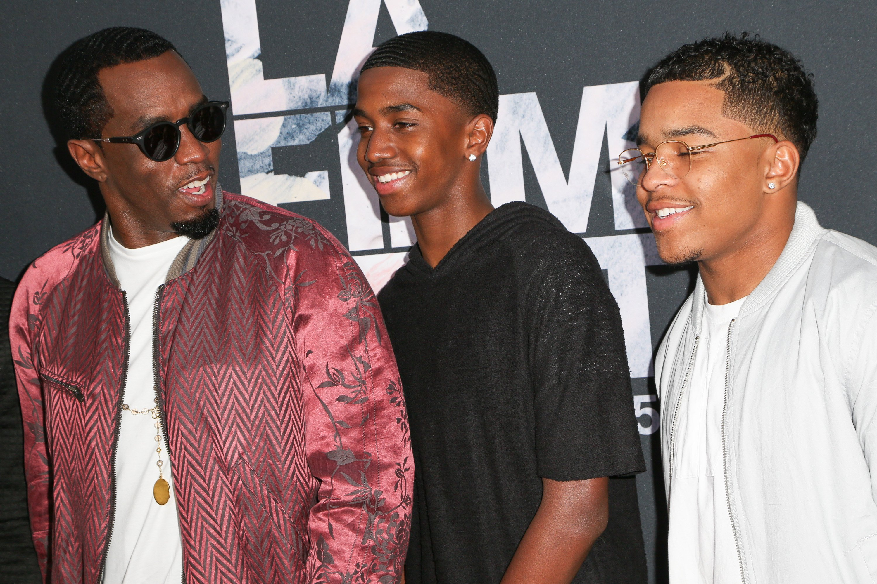 """Sean """"Diddy"""" Combs with sons Christian and Justin Combs at the Los Angeles Film Festival premiere of """"Dope"""" on June 8, 2015 in Los Angeles, California. 