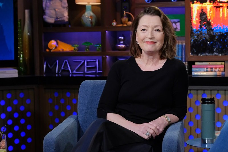 """Lesley Manville on the set of """"Watch What Happens Live With Andy Cohen"""" in February 2020 