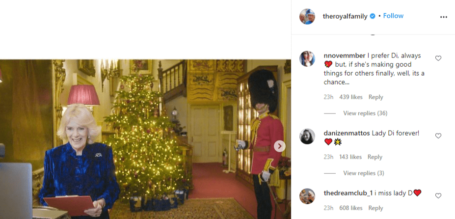 Fans comment on Camilla Parker Bowles' annual Christmas tree decorating event held on December 16, 2020. | Source: Instagram/theroyalfamily.