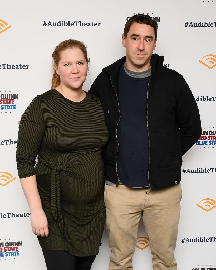 "Amy Schumer and Chris Fischer attend the ""Colin Quinn: Red State Blue State"" Opening Night at the Minetta Lane Theatre 