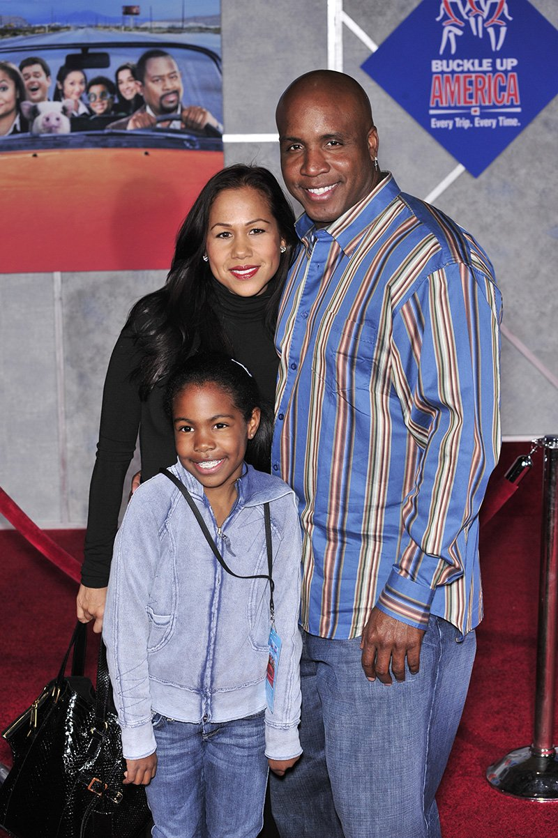 "Barry Bonds, former wife Liz Watson and their daughter Aisha at the world premiere of ""College Road Trip"" at the El Capitan Theatre, Hollywood. March 3, 2008 Los Angeles. I Image: Shutterstock."
